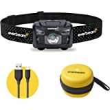 Everbeam H6 Pro LED Rechargeable Headlamp, Motion Sensor Control, 650 Lumen Bright 30 Hours Runtime 1200mAh Battery USB Headl