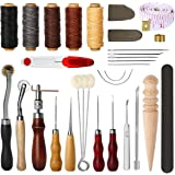 Electop 27 Pcs Leather Sewing Tools DIY Leather Craft Tools Hand Stitching Tool Set with Groover Awl Waxed Thread Thimble Kit