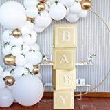 DIY Birthday Baby Shower Decorations - 4pcs Wood Grain Paper Boxes with Baby+A-Z Letters,Party Boxes Block for Baby Shower Bi