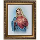 Gerffert Collection Sacred Heart of Mary Framed Portrait Print 13 Inch (Ornate Gold Tone Finish Frame)