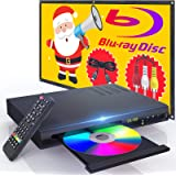 New Blu-Ray DVD Player for TV, HD Disc Player with HDMI AV Cables, Home Theater CD DVD Player Built-in PAL NTSC System with H
