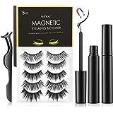Magnetic Eyelashes with Eyeliner, SHVYOG 5 Pairs Upgraded Magnetic Eyelash Kit, Natural Look False Reusable Magnetic Lashes f