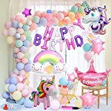 Hifinger 誕生日 飾り マカロンバルーン HAPPY BIRTHDAY 装飾 ユニコーン風船 誕生日 飾り付け