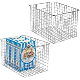 mDesign Household Metal Wire Storage Organizer Bins Basket with Handles for Kitchen Cabinets, Pantry, Bathroom, Landry Room,