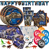 Jurassic World Dinosaur Fallen Kingdom Birthday Party Supplies Pack For 16 With Jurassic World Plates, Napkins, Tablecover, C