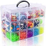 SGHUO 3 Layer Stackable Storage Container for Crafts with 30 Compartments, Plastic Organizer Box for Toys, Sewing Accessories