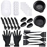 47 Pieces Dying Hair Bleaching Tools Salon Dye Kit Hair Tinting Bowl, Dye Brush, Ear Cover, Bleaching Gloves for Salon Hair D
