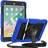 SEYMAC iPad 2018/2017 9.7 Case, Full Body Protection Case with Rotatable Stand & Hand Strap, Shoulder Strap and Screen Protec