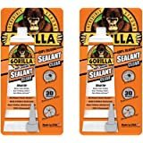 Gorilla 100 Percent Silicone Sealant Caulk, 2.8 ounce Squeeze Tube, Clear, (2 Pack)