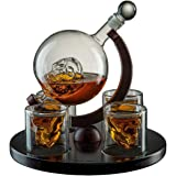 Large Skull Decanter 4 Glasses - Beautiful Wooden Base - by The Wine Savant Use Skull Head Cup for A Whiskey, Scotch and Vodk