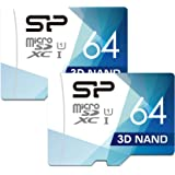 Silicon Power 2 * 64GB Micro SDXC Card with Adapter 100MB/s Read & 80MB/s Write U1, 4K/HD High Speed Memory Card