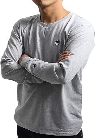 【FINON】ベーシック長袖Tシャツ ロンT メンズ 長袖Tシャツ ワッペンロゴコットン Tシャツ 長袖 ロンティー メンズファッション おしゃれ クルーネック 長袖Tシャツ 無地 ゆったり