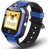 QISHUO 多機能 4G スマートウォッチ 子供向け キッズウォッチ 通話 ビデオチャット 位置確認 GPS 歩数計 防水 ブルー