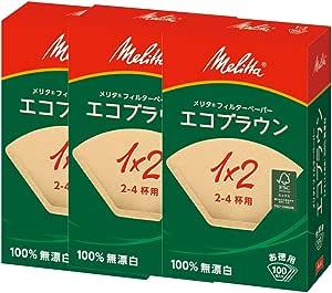 メリタ コーヒーフィルター エコブラウン PA1×2G NB 2~4杯用 FSCミックス 100枚×3個セット