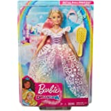 Barbie Dreamtopia Royal Ball Princess Doll, Blonde Wearing Glittery Rainbow Ball Gown, with Brush and 5 Accessories,  3 to 7