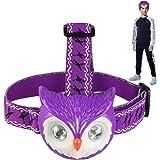 LED Headlamp Flashlight - LED Head Torch for Kids, Adults with Owl Sound 4 Modes Adjustable Strap - Lightweight Helmet Light