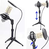 """Desktop Microphone Tripod Suspension Stand with Shock Mount Anti-Vibration Mic Holder and 4"""" Round Mask Shield Double-Net Win"""