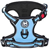 PoyPet No Pull Dog Harness, [Release on Neck] Reflective Adjustable No Choke Pet Vest with Front & Back 2 Leash Attachments,