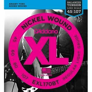 D'Addario ダダリオ ベース弦 ニッケル バランスドテンション Long Scale .045-.107 EXL170BT 【国内正規品】