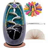 SPACEKEEPER Ceramic Backflow Incense Holder Waterfall Incense Burner, Aromatherapy Ornament Home Decor with 100 Backflow Ince