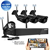 【HD2MP &8CH System H.265 with Audio】JOOAN Surveillance Wireless Security Camera System, 8 Channels 4 * 2MP Full HD Weatherpro