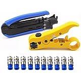 Coaxial Compression Tool Coax Cable Crimper Kit Adjustable RG6 RG59 RG11 75-5 75-7 Coaxial Cable Stripper with 10 PCS F Compr