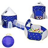 LOJETON 3pc Rocket Ship Kids Play Tent, Tunnel & Ball Pit with Basketball Hoop for Boys, Girls and Toddlers - Indoor/Outdoor
