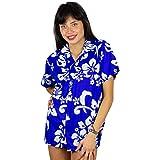 V.H.O Funky Hawaiian Blouse Women Short-Sleeve Front-Pocket Hibiscus Flower Indigoblue