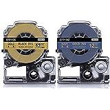 Suminey キングジム テプラPRO リボン ラベル テープカートリッジ SFR12NZ SFR12ZK ネイビー/金文字 ゴールド/黒文字 互換 りぼんラベル 12mm テプララベルライター対応 2個セット