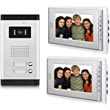 AMOCAM Wired Video Door Phone Intercom System,Video Doorbell Kits, 1 pcs Night Vision Camera, 2 pcs 7 inch LCD Monitor, for 2