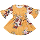 MingAo Flower Girl Dress 2 Pcs Rose Christmas Party with Hat & 3/4 Long Flare Sleeve Floral Dresses, Round Neck
