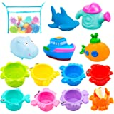 Bath Toys and Stacking Toys for Toddlers- 6 Multi-Size Stacking Cups 4 Squirt Squeaker 1 Submarine Toys and 1 Mesh Net Bath T