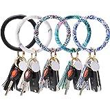 JOTOM 5PCS Leather Wristlet Keychain Bracelet Keyring Bracelets Tassel Bangle Key Ring Chain for Women Girls