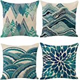 Jasfura Set of 4 Bohemia Teal Throw Pillow Covers 18x18 Inch Ocean Decorative Couch Pillow Cases Sea Cotton Linen Case Tuquoi