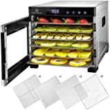 ChefWave 6 Tray Food Dehydrator Machine - Stainless Steel, Digital Temperature Control & Timer, 3 Teflon Sheets, 2 Mesh Sheet
