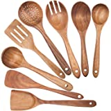 Monland Wooden Spoons for Cooking,Nonstick Kitchen Utensil Set,Wooden Spoons Cooking Utensil Set Non Scratch Natural Teak Woo