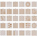 Pimoys 30 Pieces Cookie Stencil, 5.1 x 5.1 Inch Baking Templates Cake Decorating Stencil Floral Leaf Cake Stencil Geometric S