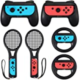 LiNKFOR 3 in 1 Joy-Con Accessories Bundle for Nintendo Switch | Tennis Racket for Mario Tennis Aces Game |Grips Handle for Ni