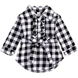 Kids Little Girls Long Sleeve Dress Red Plaids Button Down Belted Shirts Dresses Clothes Fall Winter Fashion Outfits