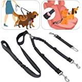 SlowTon Double Dog Seat Belt and Dog Leash Set, Dual Detachable Pet Car Seatbelt and Pet Lead for Two Dogs, Adjustable Safety