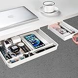 Under Desk Drawer[2Pack, M Plus+S], GGIANTGO Desk Organizers, Set for Office/Bedroom/School/Kitchen, Self-Adhesive Under Desk