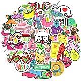 Waterproof Cute Vinyl Stickers Pack for Water Bottle Laptop for Teen Girls (50Pcs Beach Style)