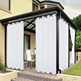 BONZER Waterproof Indoor/Outdoor Curtains for Patio - Privacy Grommet Curtains for Bedroom, Living Room, Porch, Pergola, Caba