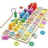 木製パズル 5in1 木のおもちゃ 数字認知 色の認識 形の認知 立体パズル 釣りおもちゃ Bajoy 色々遊び方の木製おもちゃ ちいく玩具 収納袋付き 学習玩具 指先訓練 数学力アップ 女の子 男の子おもちゃ 誕生日 クリスマス プレゼント 6+