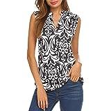 Halife Women's Long Sleeve/Sleeveless Floral Print V Neck Henley Tank Tops Blouse Shirts Tunic