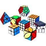 Nitrocubes QiYi Speed Cube Set Magic Cube Bundle with Full Puzzle Solution Manual and Cube Stand 2x2 3x3 4x4 Pyramid Megaminx