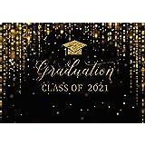 Msocio7x5ftDurablePolyesterFabricCongrats Graduation Backdrop Class of 2021 Photography Background Gold Bachelor Cap Cel