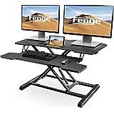 Height Adjustable Standing Desk 32''/80cm Wide Tabletop Workstation Ergonomic Sit to Stand Converter Desk Black