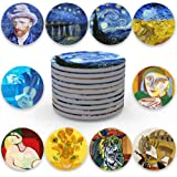 Coasters for Drinks Absorbent Ceramic Absorbing Stone Coasters Protects Furniture, Cork Base Bar Decor Round 4 inch Decorativ
