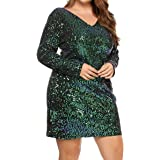 IN'VOLAND Women Glitter V-Neck Long Sleeve Bodycon Sequin Cocktail Party Club Evening Mini Dress(16~24W) Green